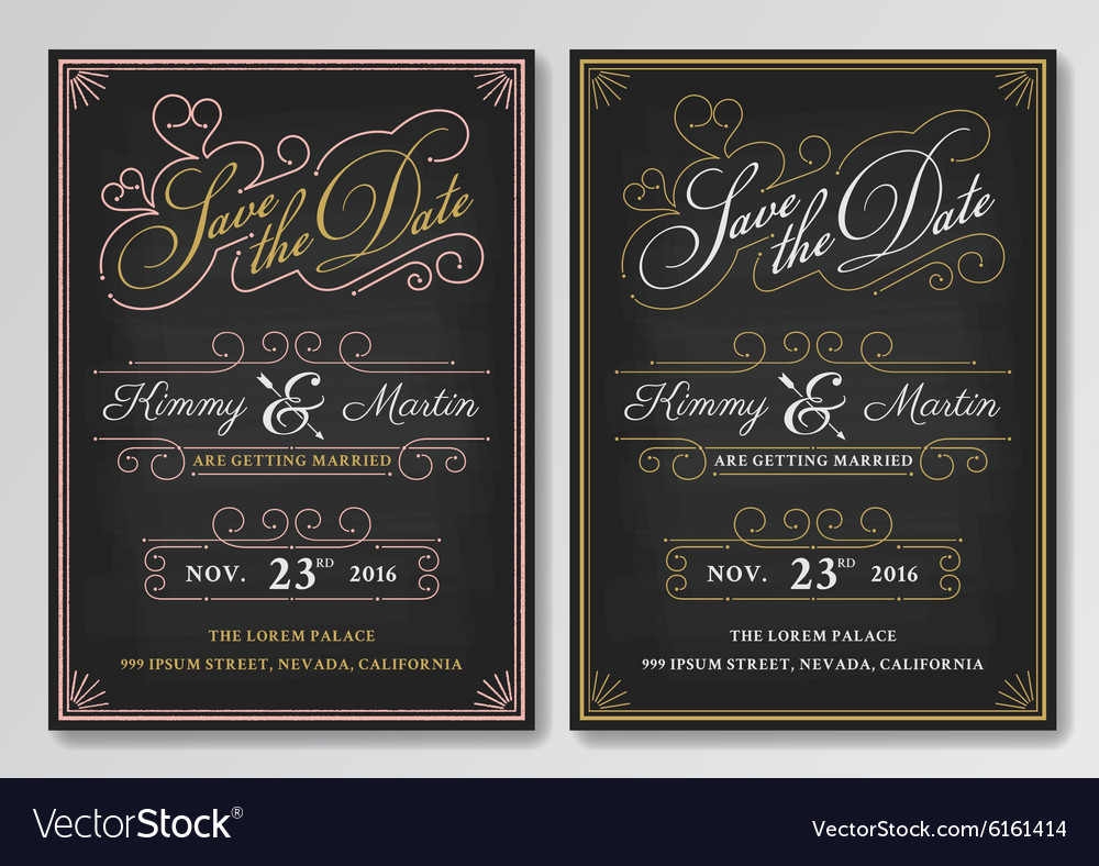 Vintage chalkboard save the date wedding vector image