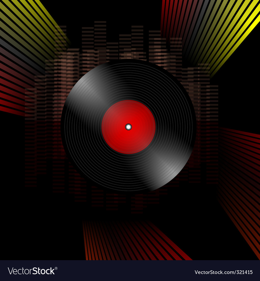 Vinyl record grunge composition vector image