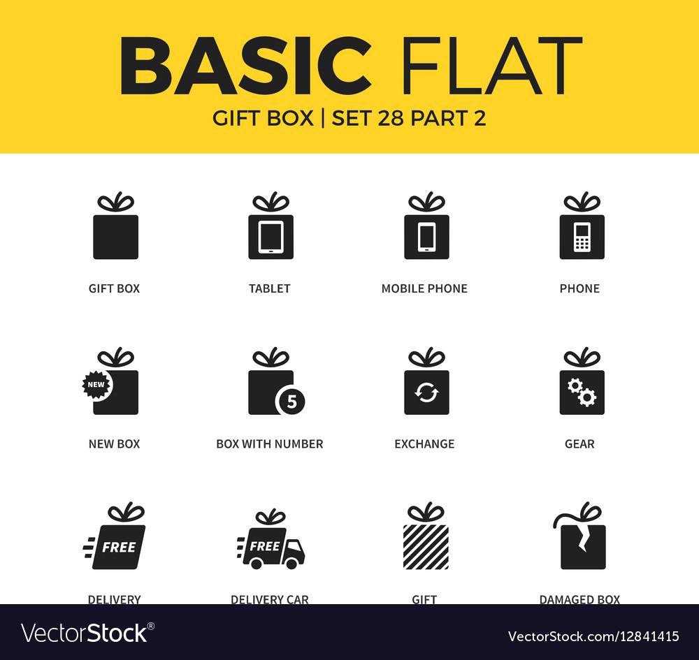 Basic set of Gift box icons vector image