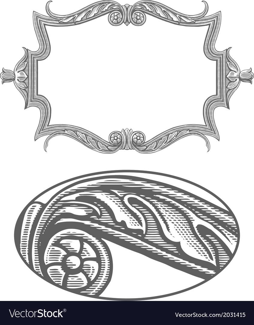 Ornate frame in vintage engraving style vector image