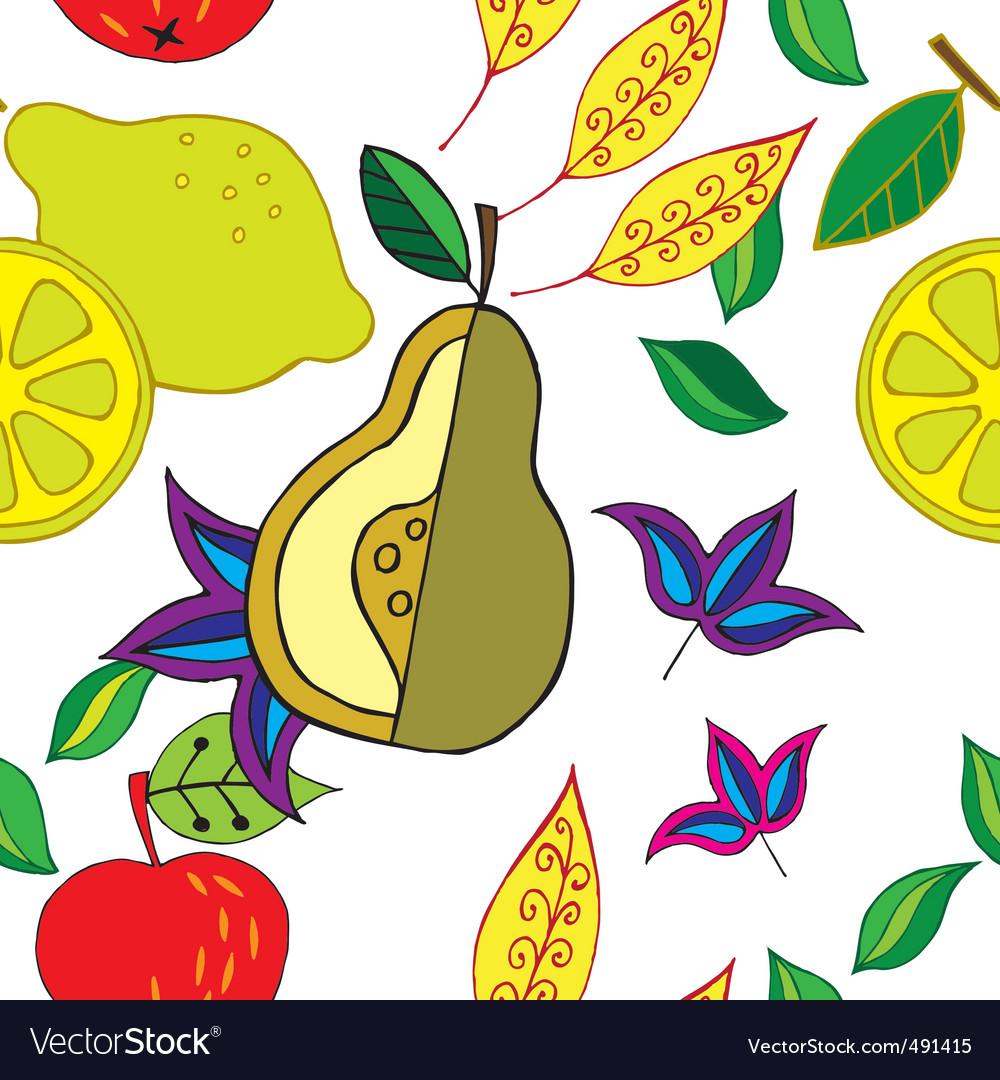 Spring fruit pattern vector image