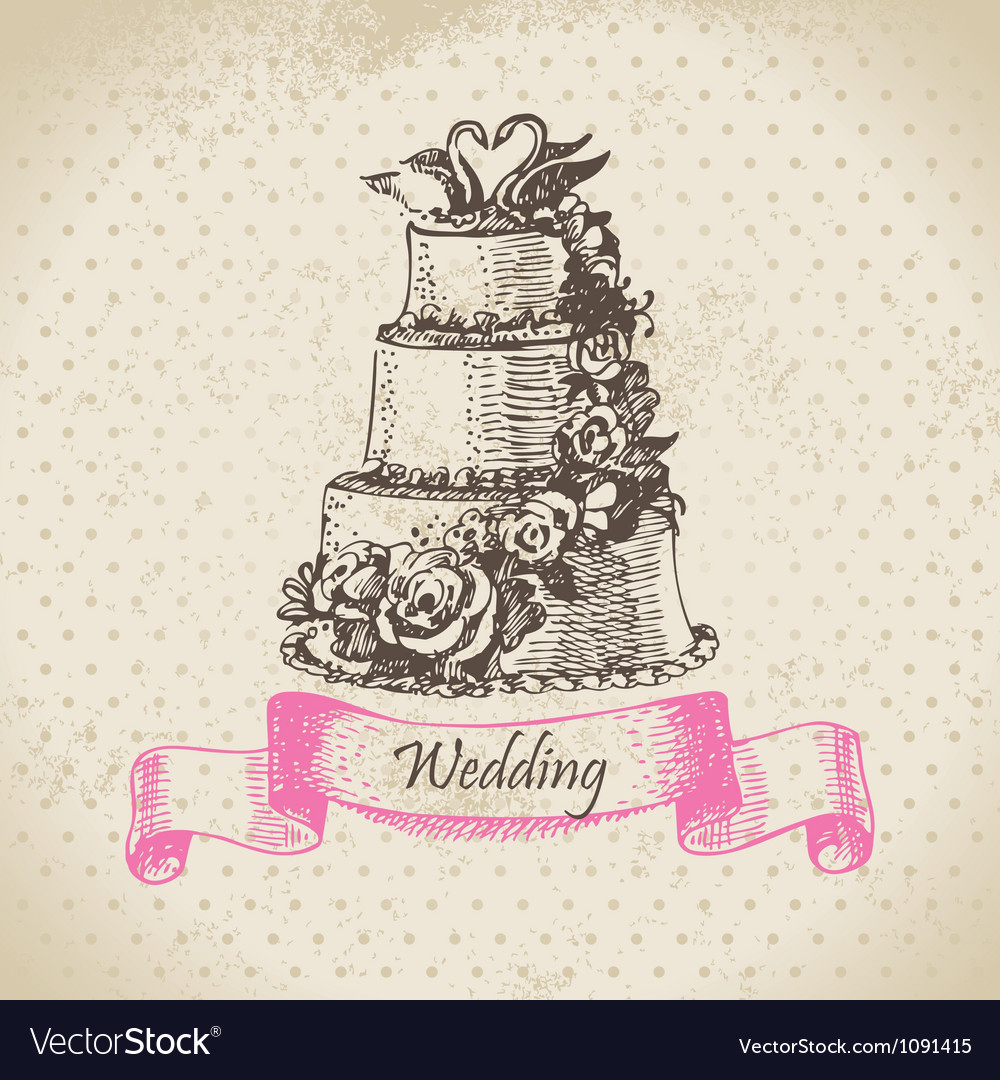 Wedding cake hand drawn vector image