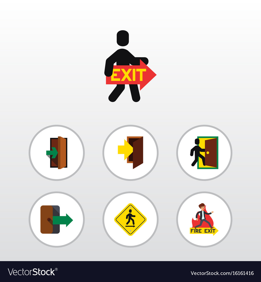 Flat icon exit set of entry entrance evacuation vector image
