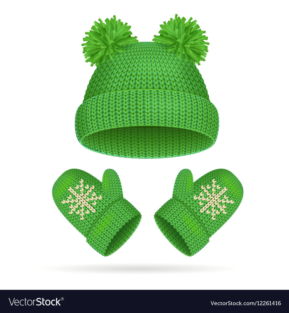 Hat with a Pompom and Mitten Set vector image