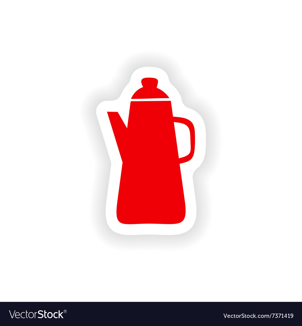 Icon sticker realistic design on paper coffee