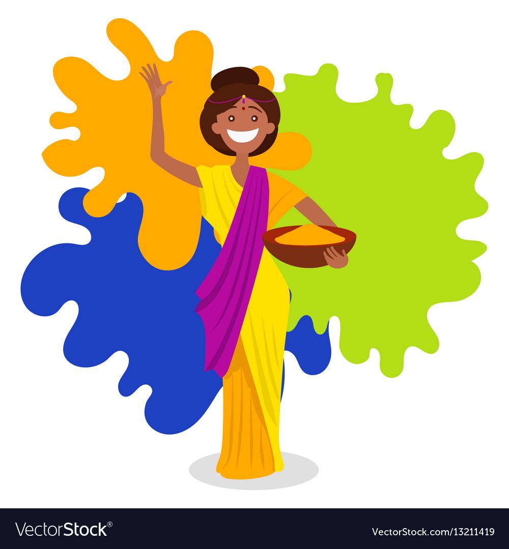 Indian woman on holi festival vector image