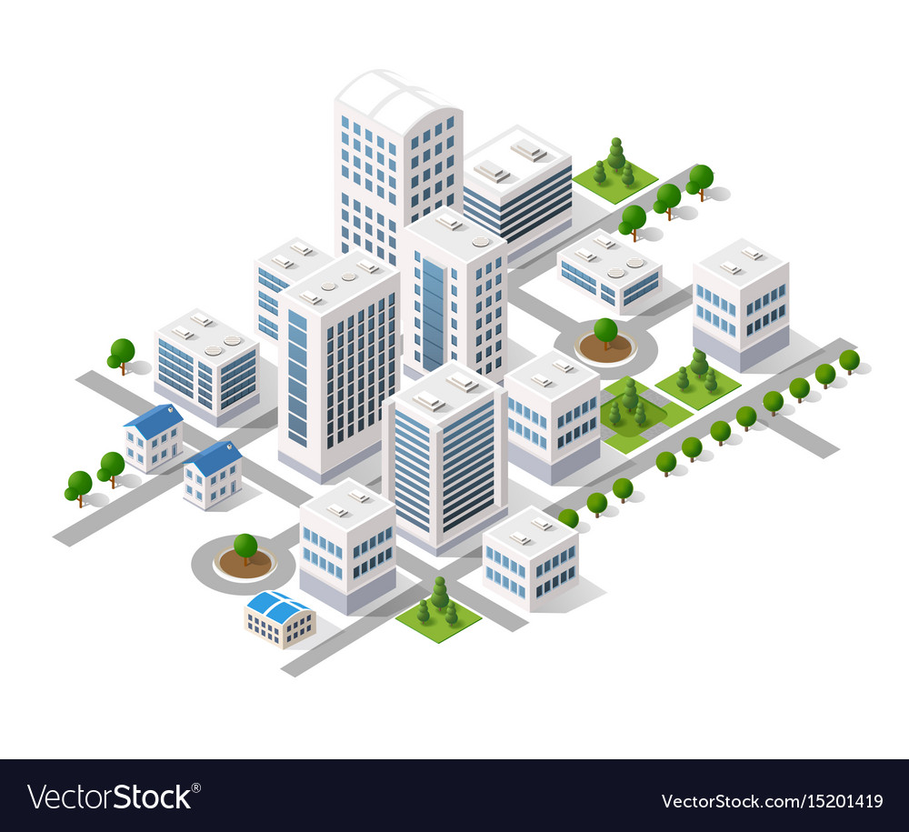 Isometric 3d metropolis city quarter with streets vector image