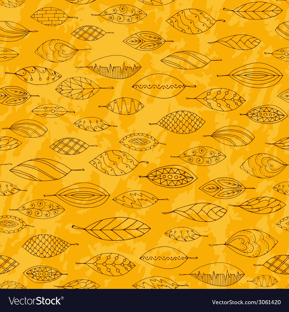 Autumn grunge seamless stylized leaf pattern in vector image