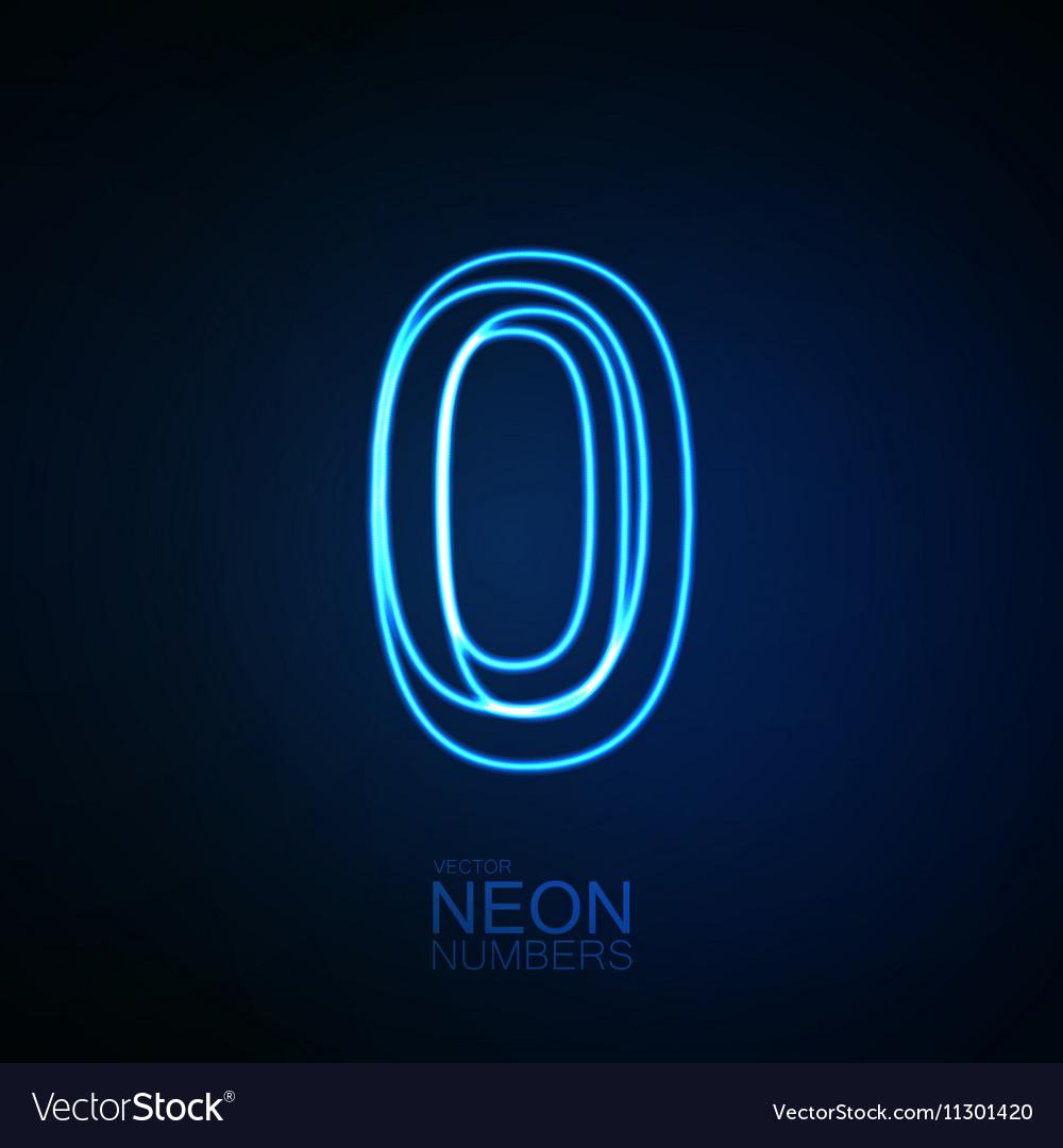 Neon 3D number 0 vector image