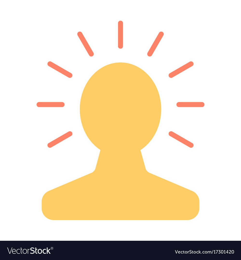 New bright idea in human head icon lightbulb vector image