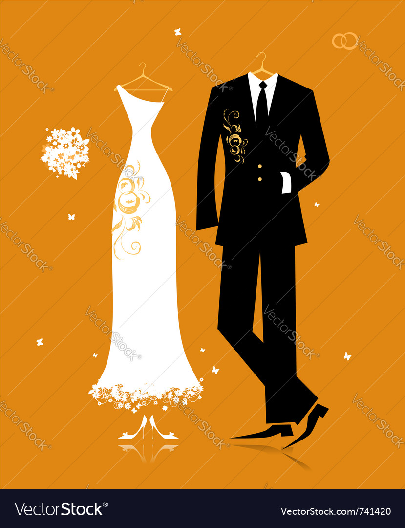 Wedding groom suit and brides dress vector image