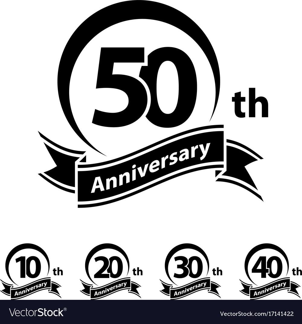 Anniversary ribbon number 10 20 30 40 50 vector image
