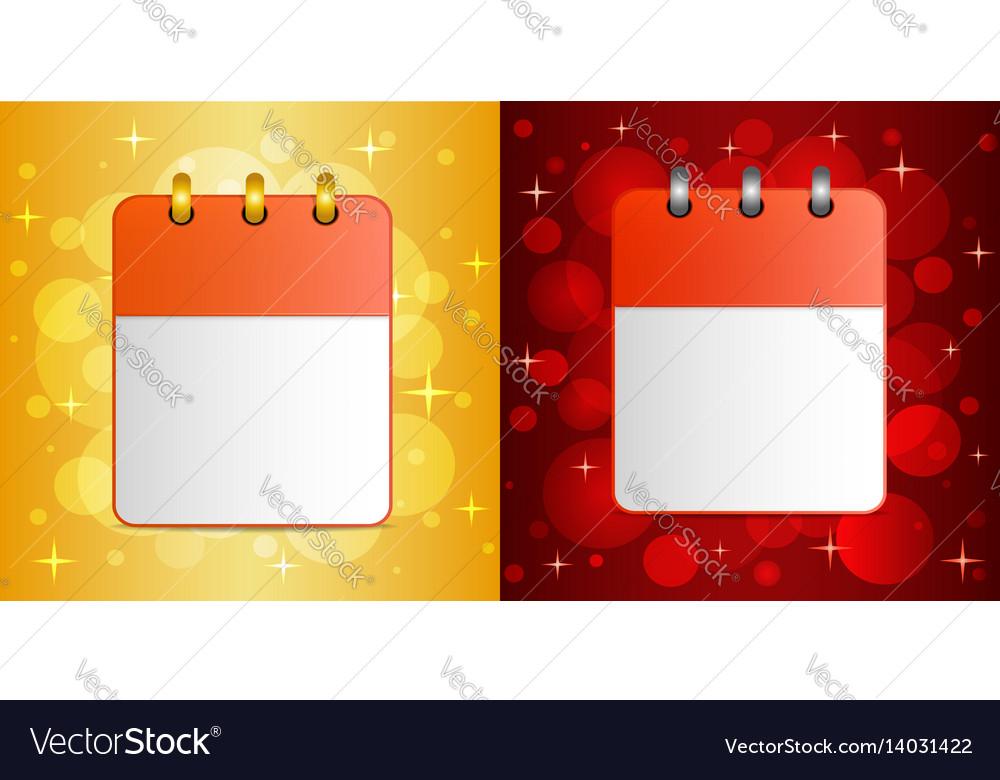 Blank sheet of calendar on festive background vector image