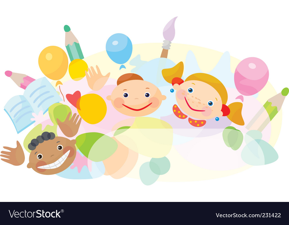 Cartoon ethnic kids vector image