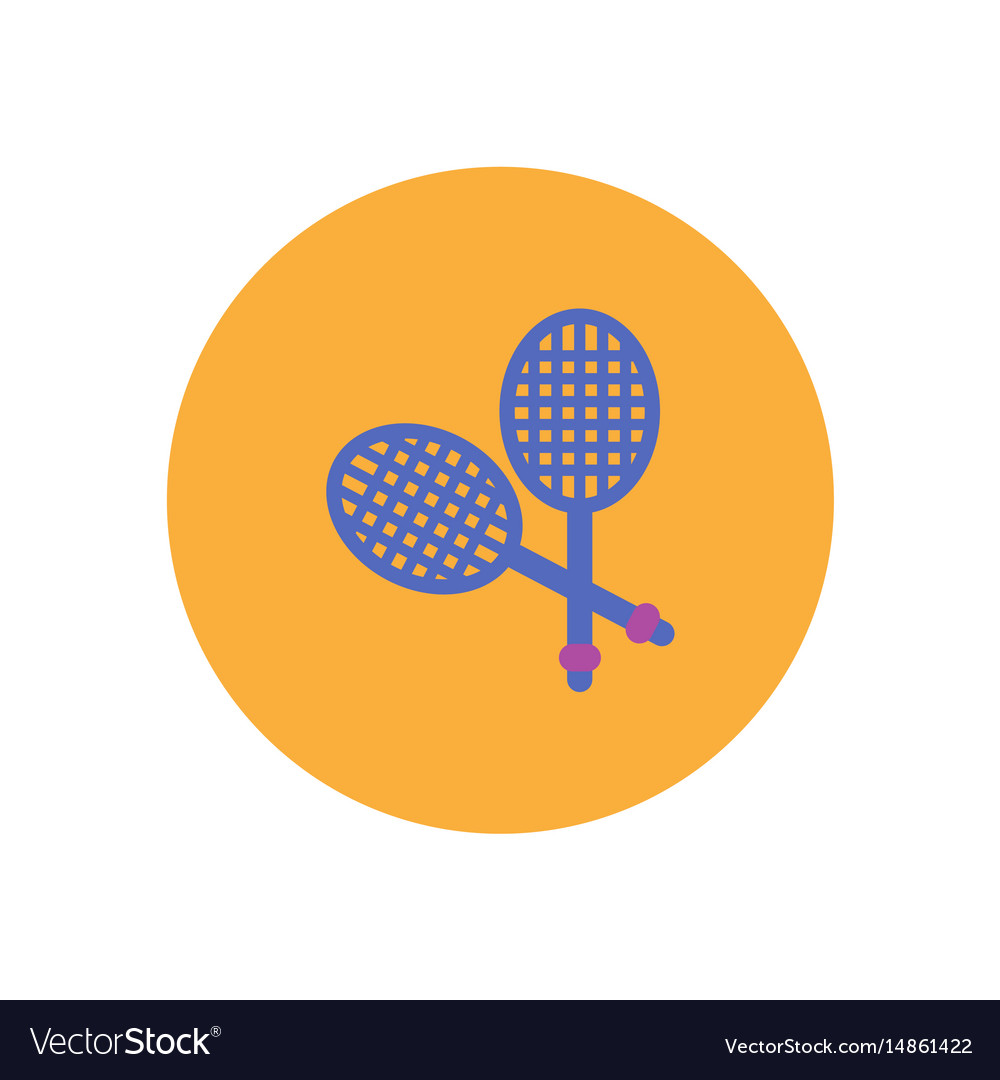blue map pointer with tennis racket and ball