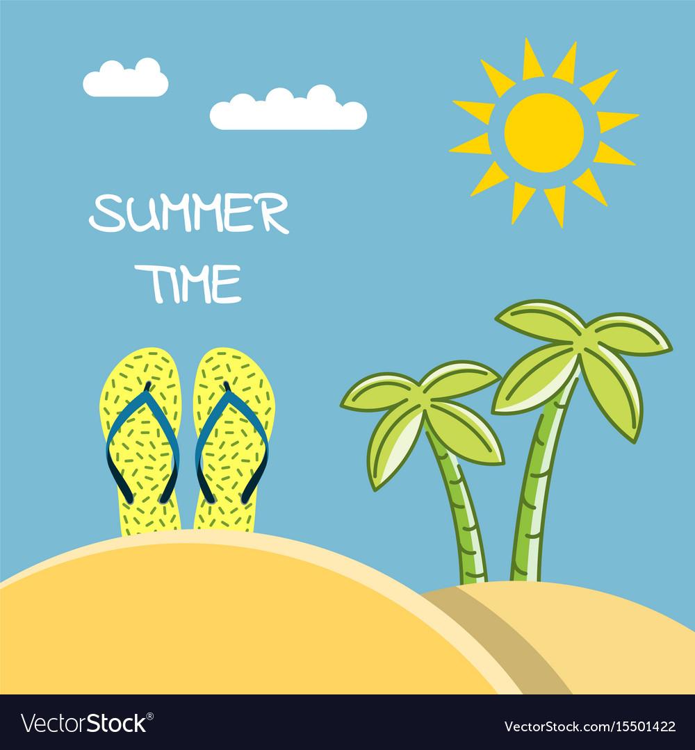 Summer time beach vector image
