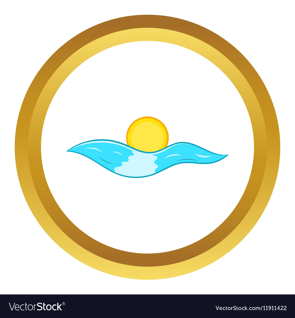 Sun and sea waves icon vector image