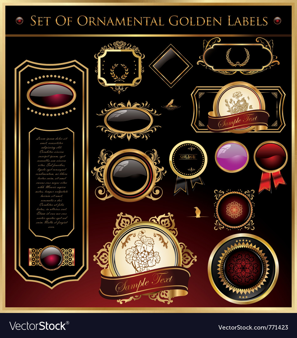 Set of ornamental golden labels and medallions vector image