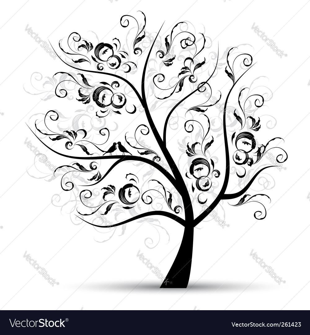 Art tree beautiful black silhouette vector image
