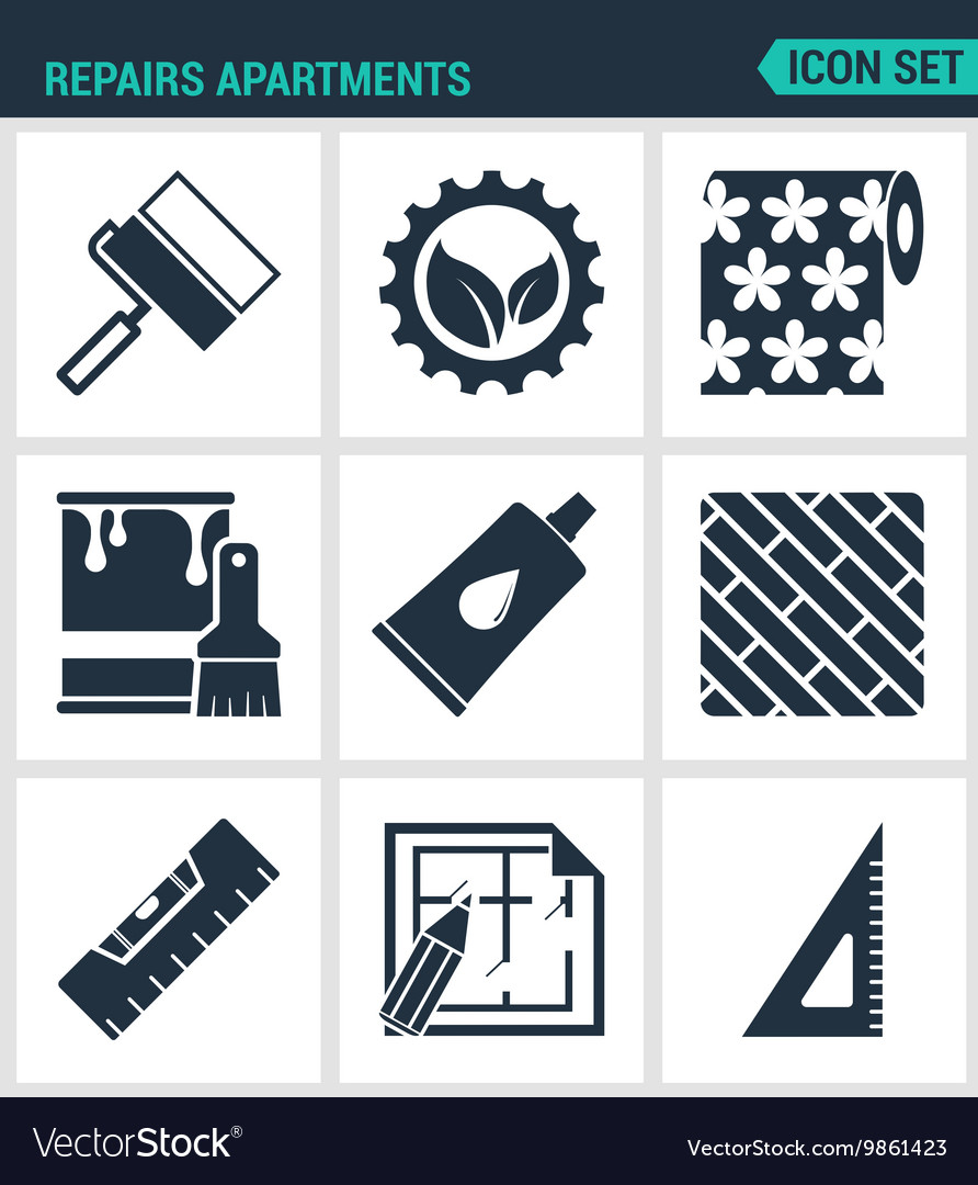 Set of modern icons Repairs apartments vector image