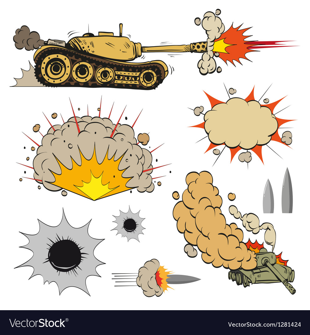 Set of tanks vector image
