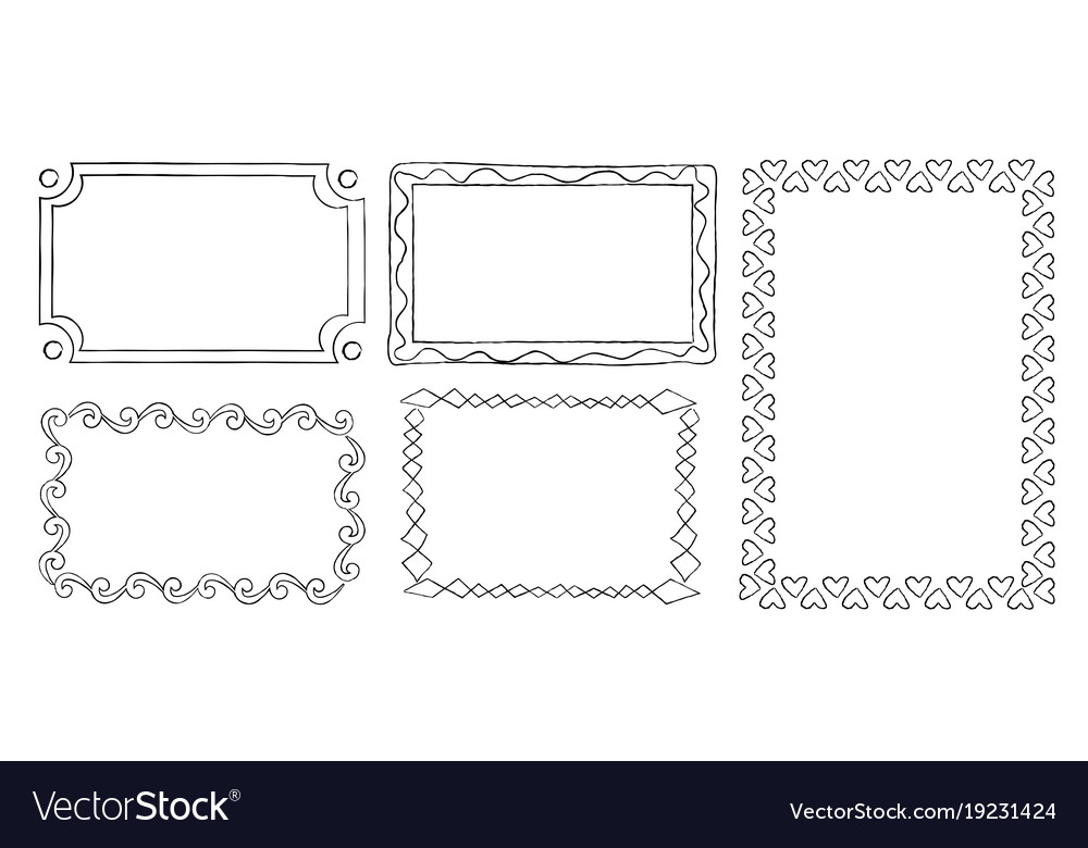 Collection of frames with swirls rectangular shape