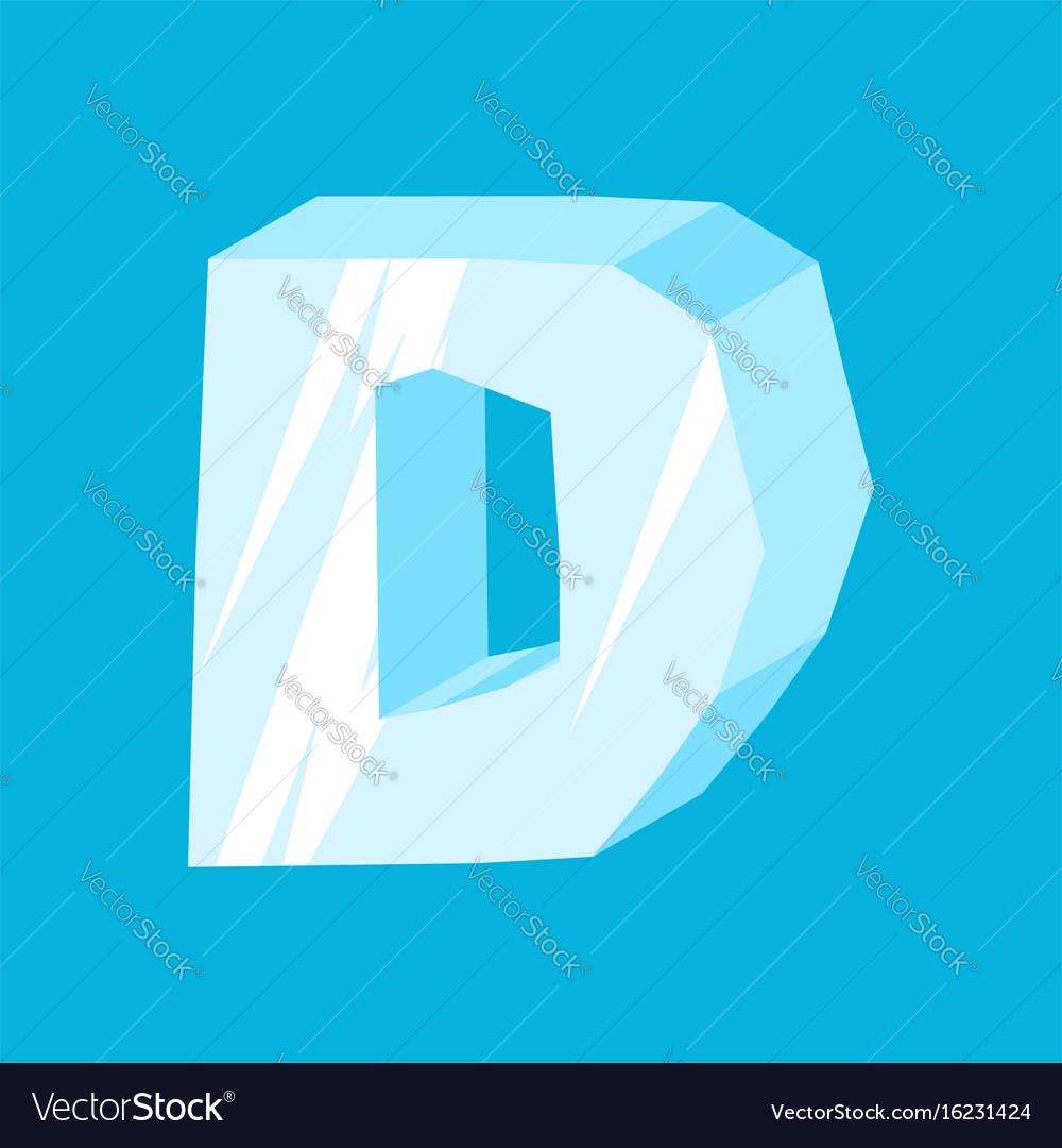 Letter d ice font icicles alphabet freeze vector image