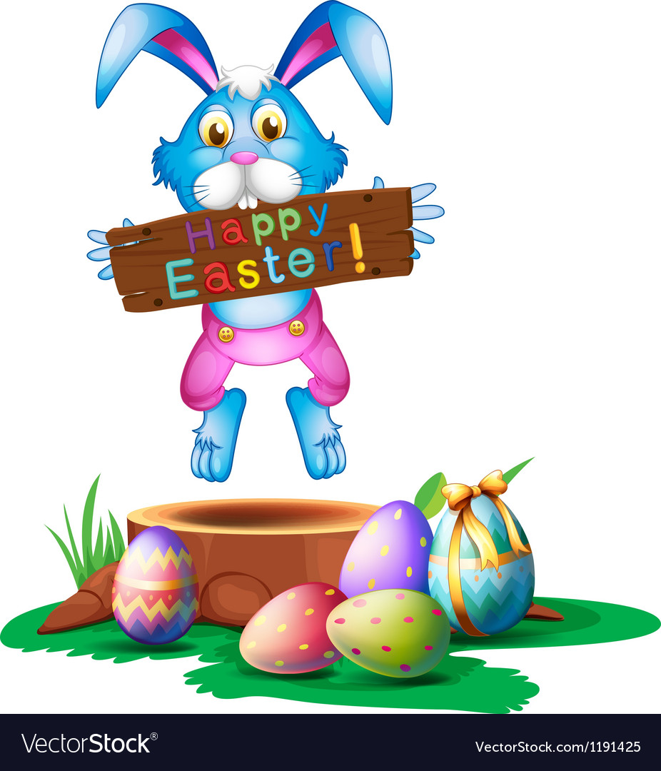 A rabbit holding an easter greeting vector image