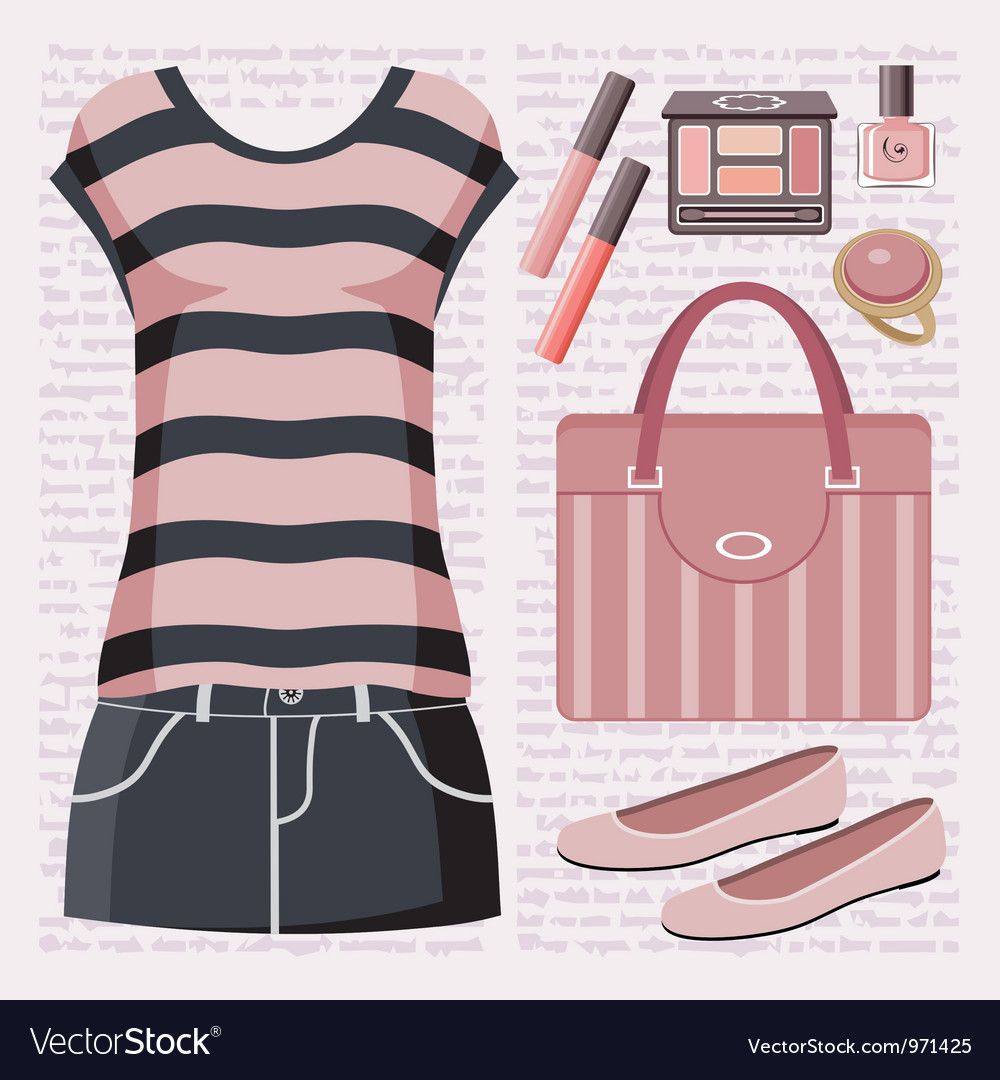 Fashion set with a top and a skirt vector image