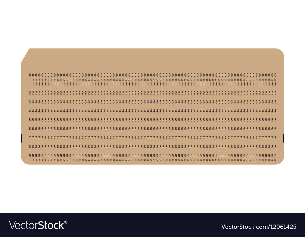 Punch card Vintage computer data storage vector image