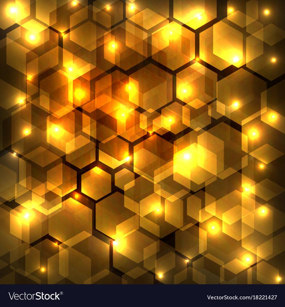 Abstract golden shine hexagon geometric on dark vector image