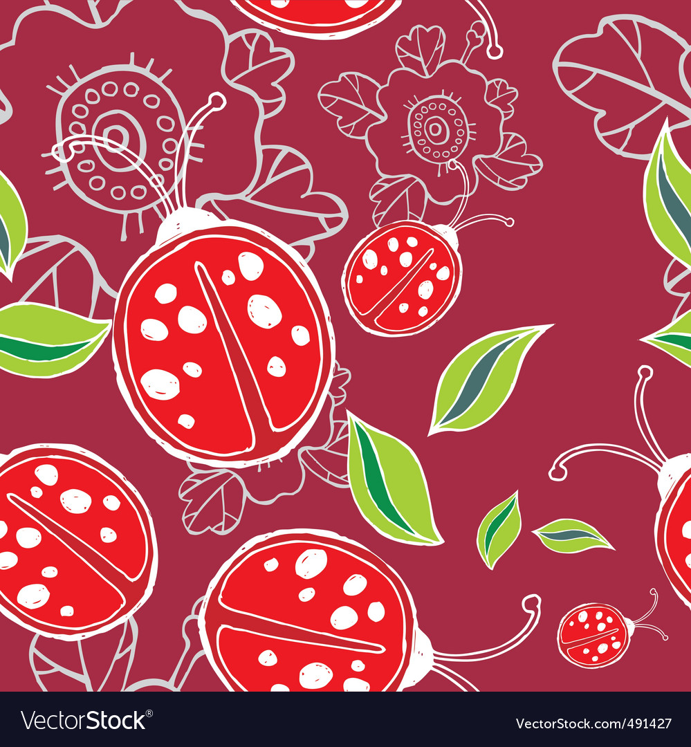 Lady bird pattern vector image