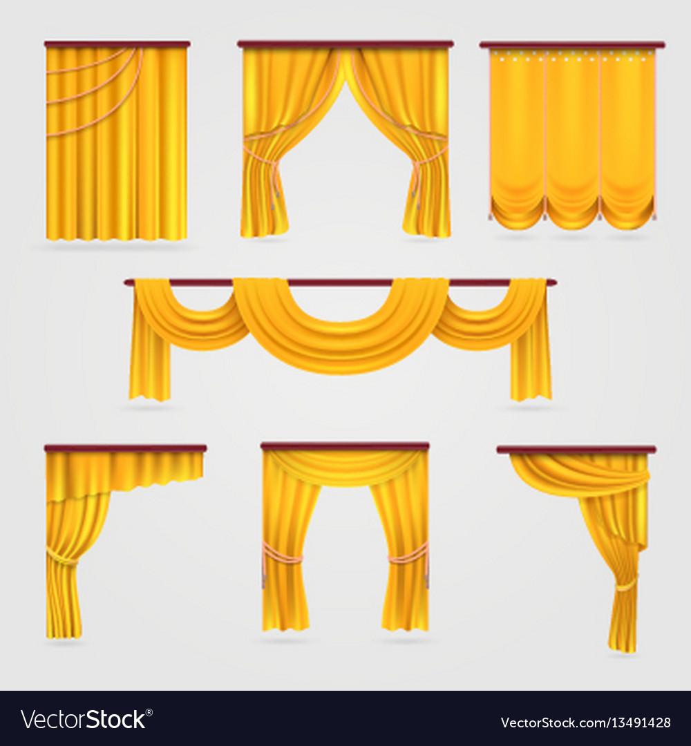 Gold velvet curtain drapery wedding stage vector image junglespirit Gallery