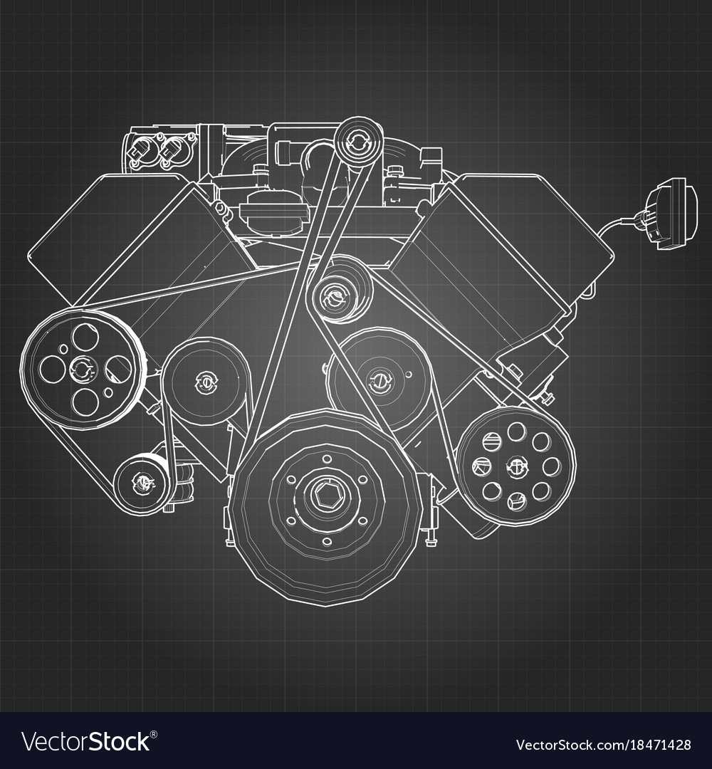 Powerful v8 car engine the engine is drawn with Vector Image