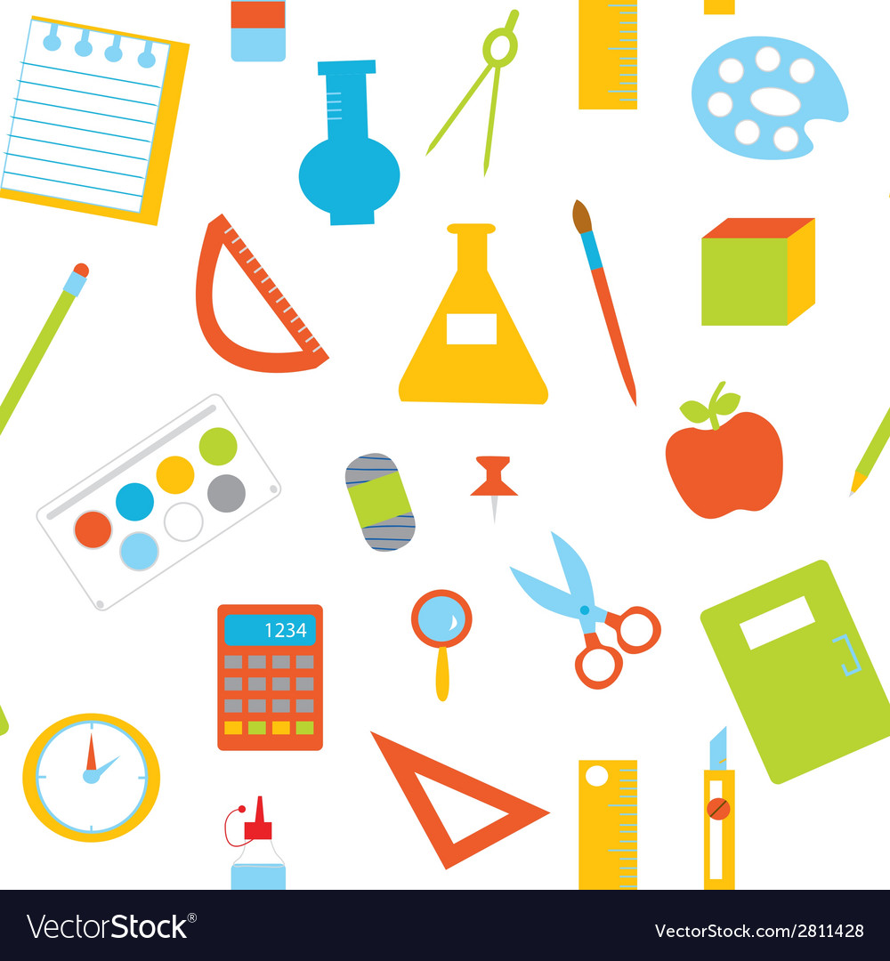 Seamless pattern with school items vector image