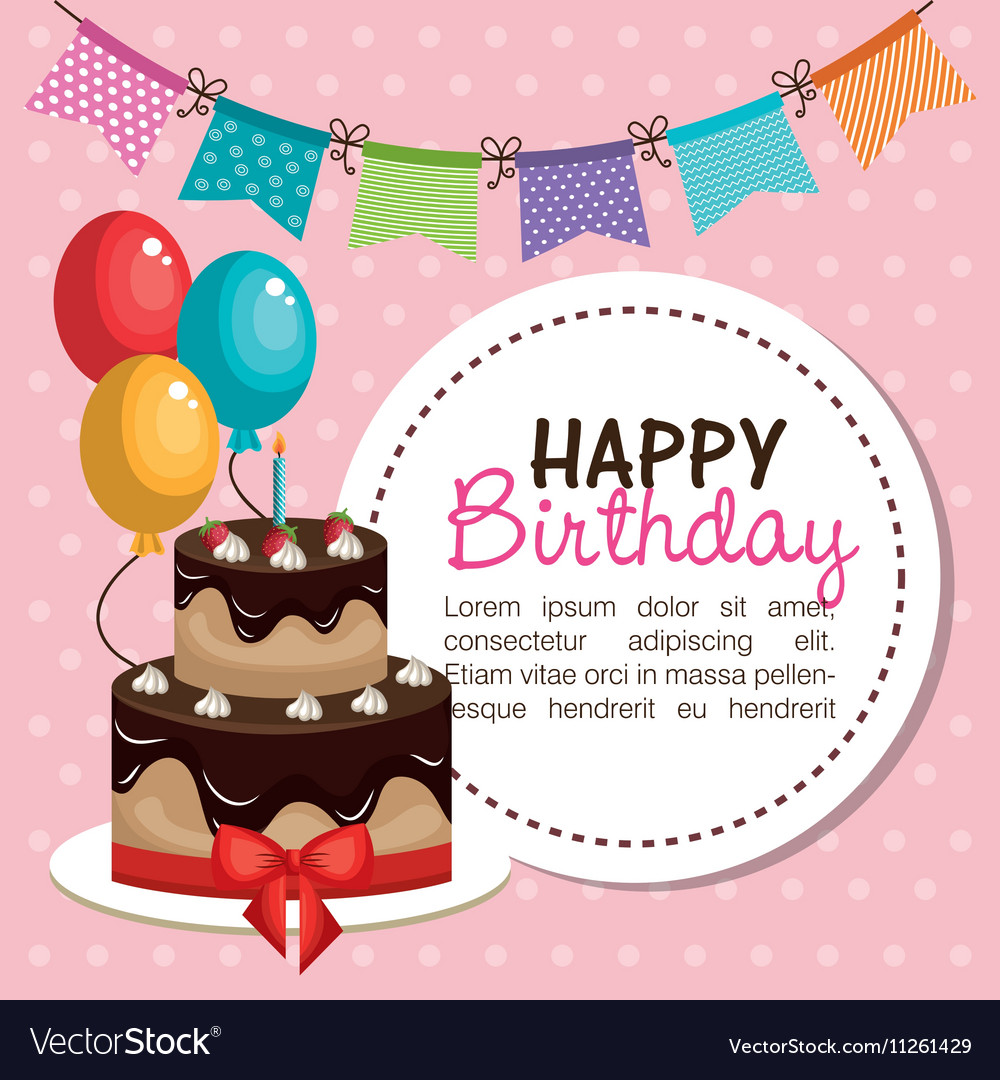 Happy birthday invitation card Royalty Free Vector Image