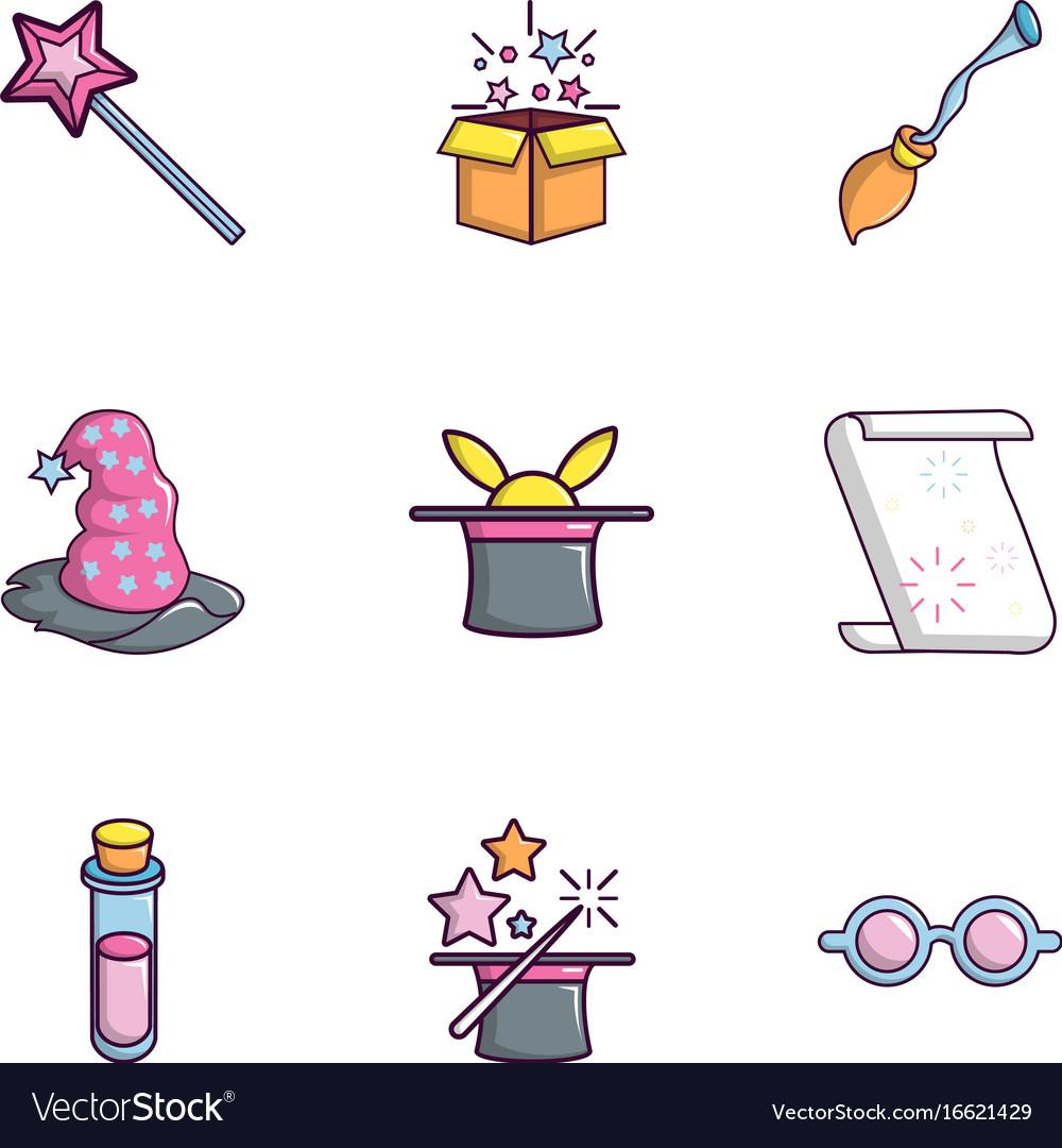 Magic show icons set flat style vector image