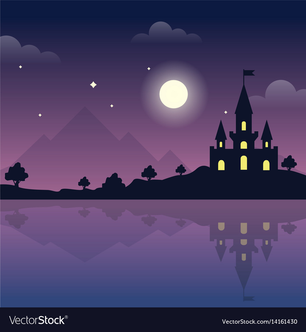 Castle on the hills at night magic night vector image