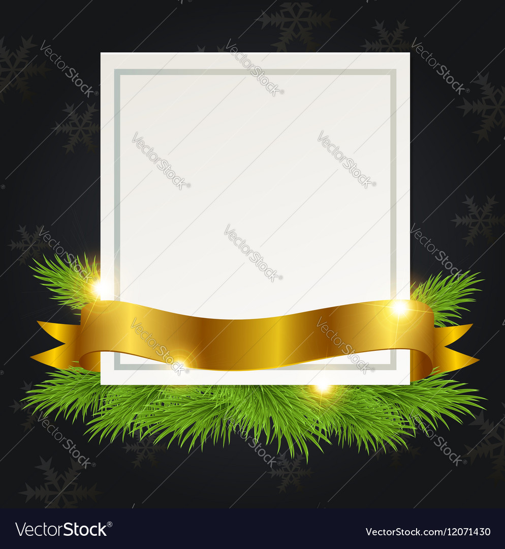 Christmas background with golden ribbon and card vector image
