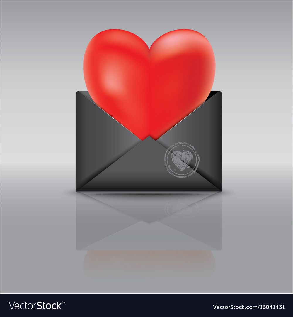 An open black envelope red heart vector image