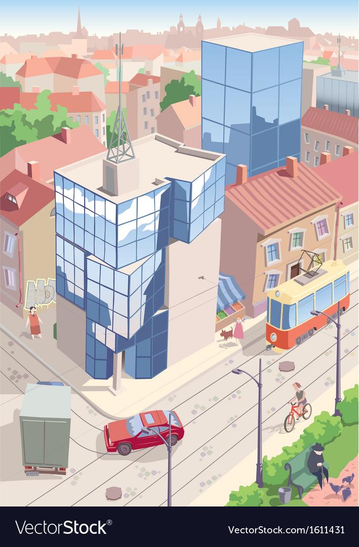 Old European city vector image