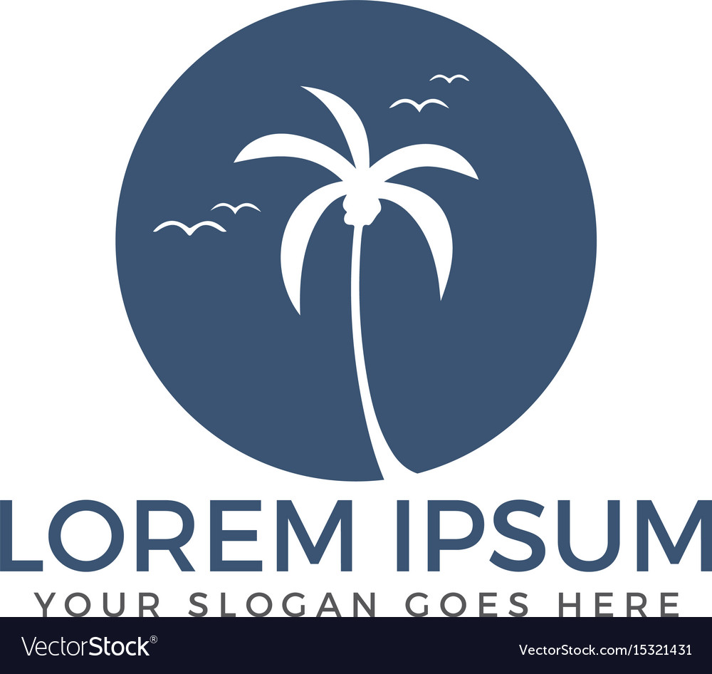 Palm tree travel and tourism logo design vector image