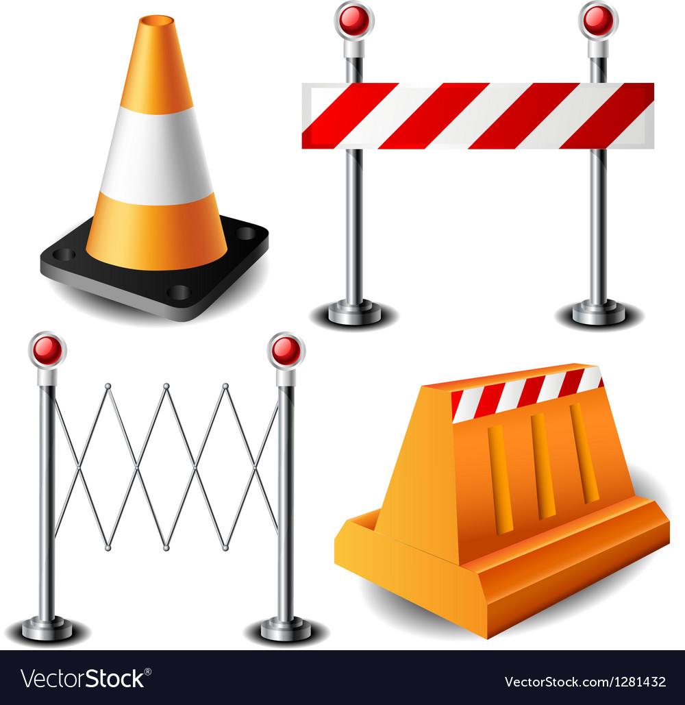 Barricade item set vector image