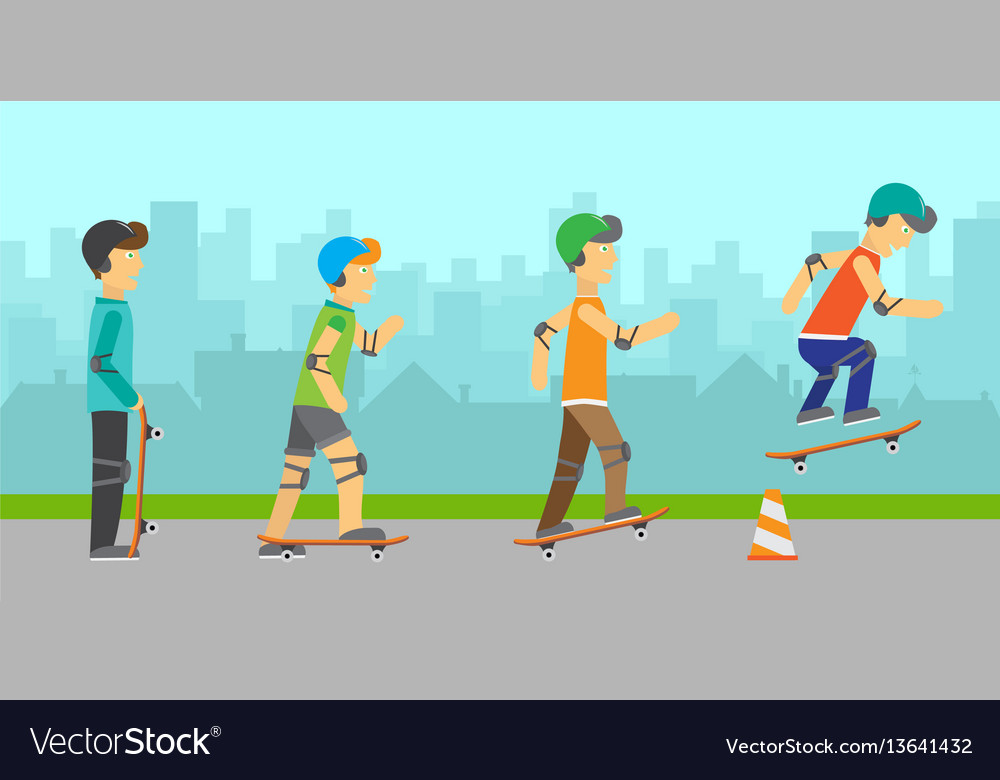 Group of skateboarders vector image