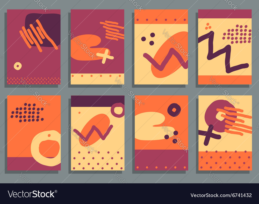 Set of Vintage Creative Cards with Hand Drawn vector image