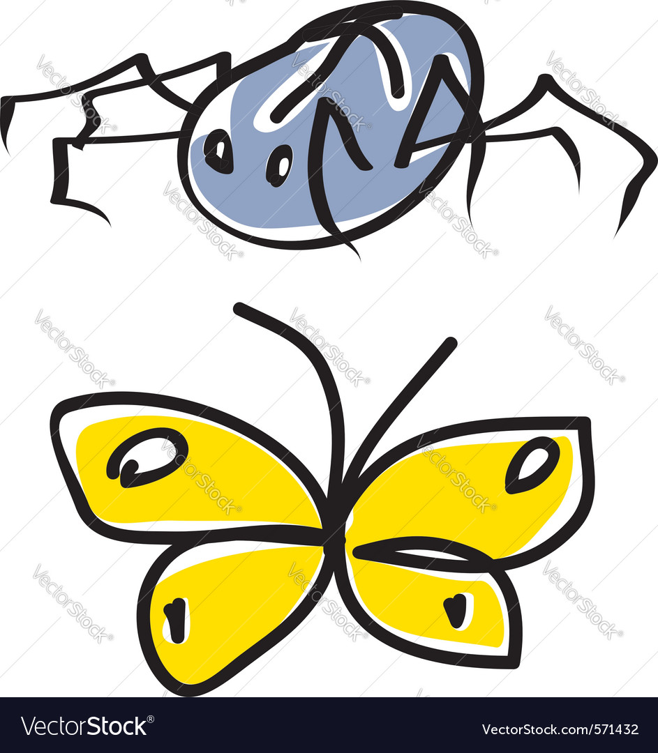 spider and butterfly cartoon royalty free vector image