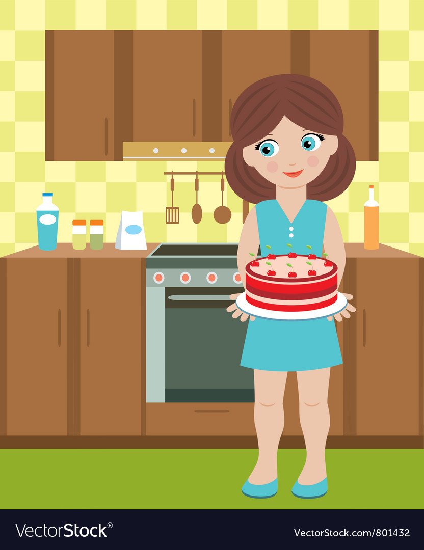 Young woman with a pie vector image