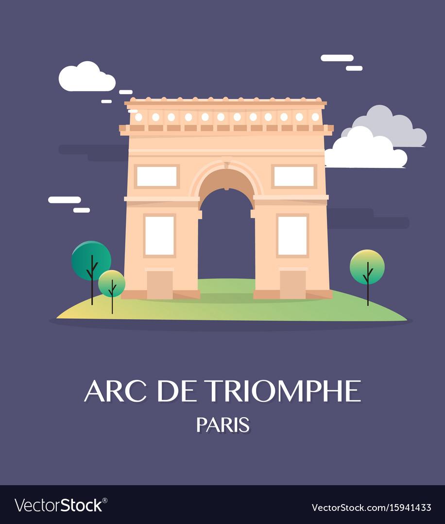 Famous landmark arc de triomphe paris france vector image