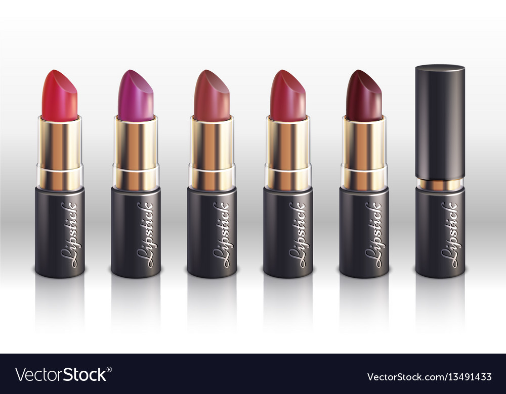 Glossy color lipstick for woman lips make up vector image