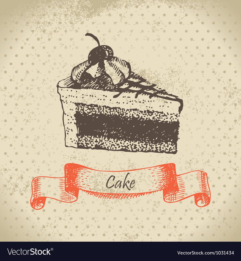 Cake hand drawn vector image